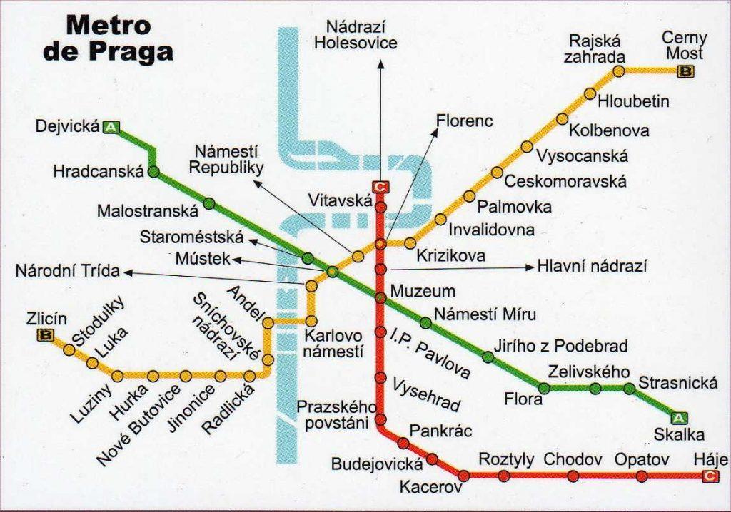 Карта метро Праги