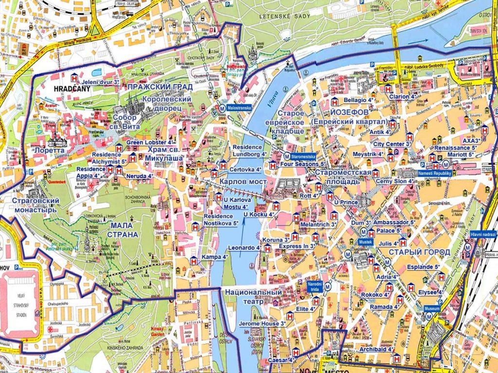 Карта достопримечательностей Праги на русском языке