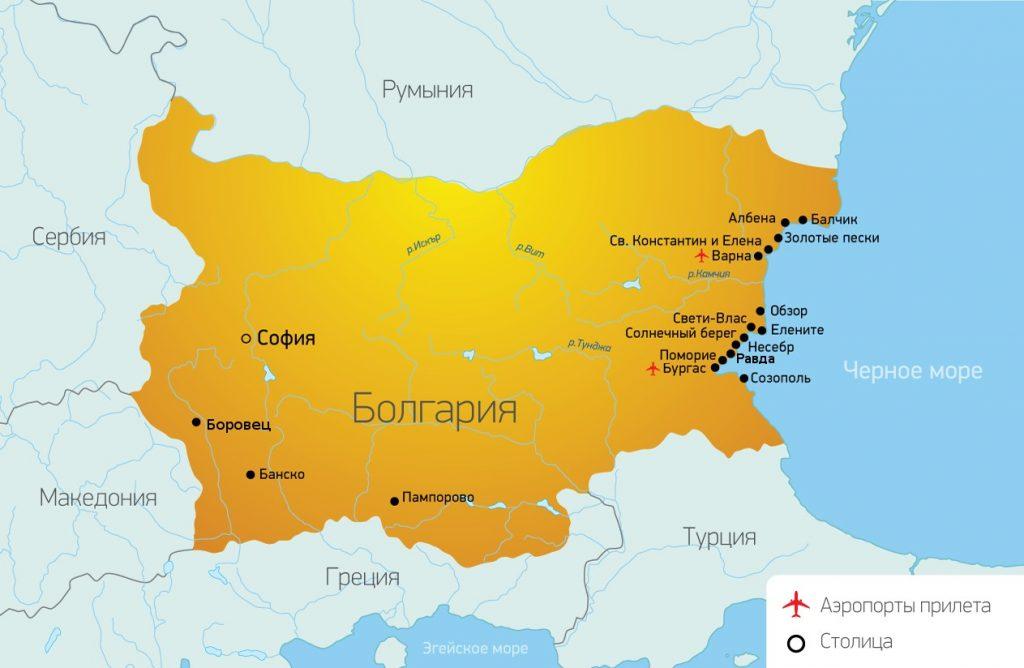 Карта курортов Болгарии