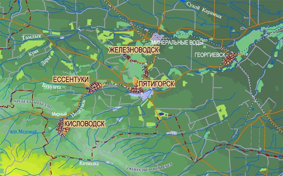 Карта курортов Кавказских Минеральных Вод