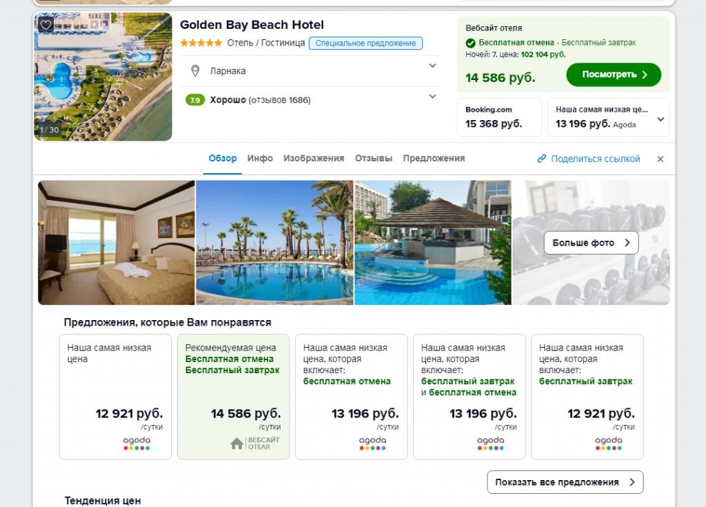 Информация об отеле на Триваго